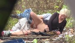 amateur couple caught outdoor